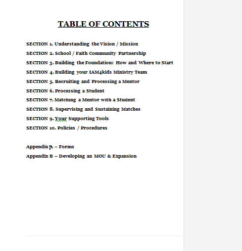 table of contents word